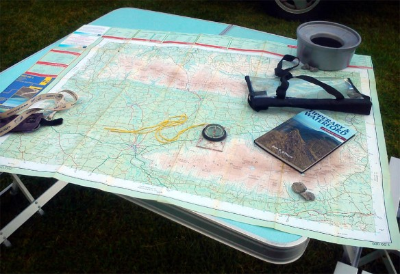OSI Map No. 74 - plus dog water bowl, stones and a Tipperary & Waterford walking Guide, to stop the map blowing away!
